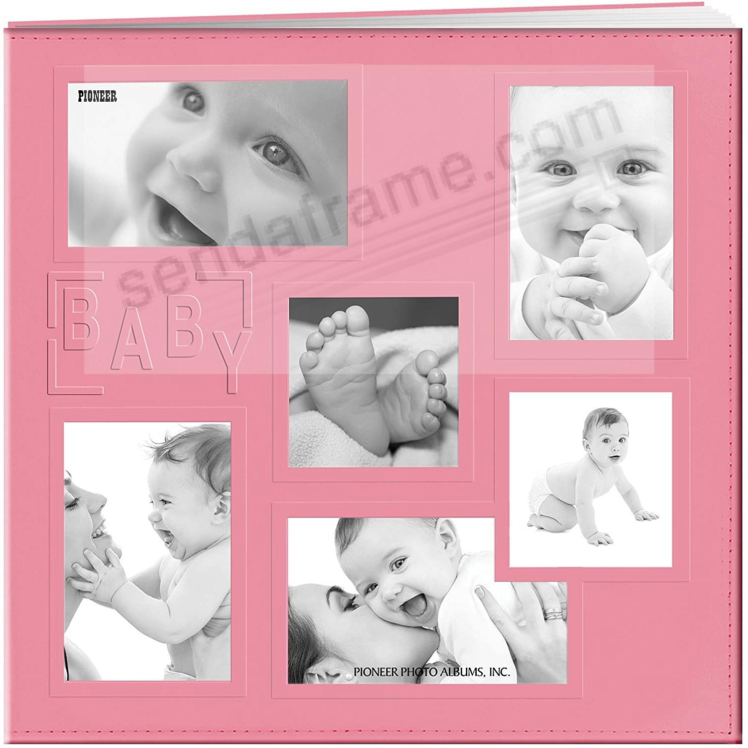 PINK-BABY Collage Frame Cover 12x12 Leatherette Scrapbook album by Pioneer®
