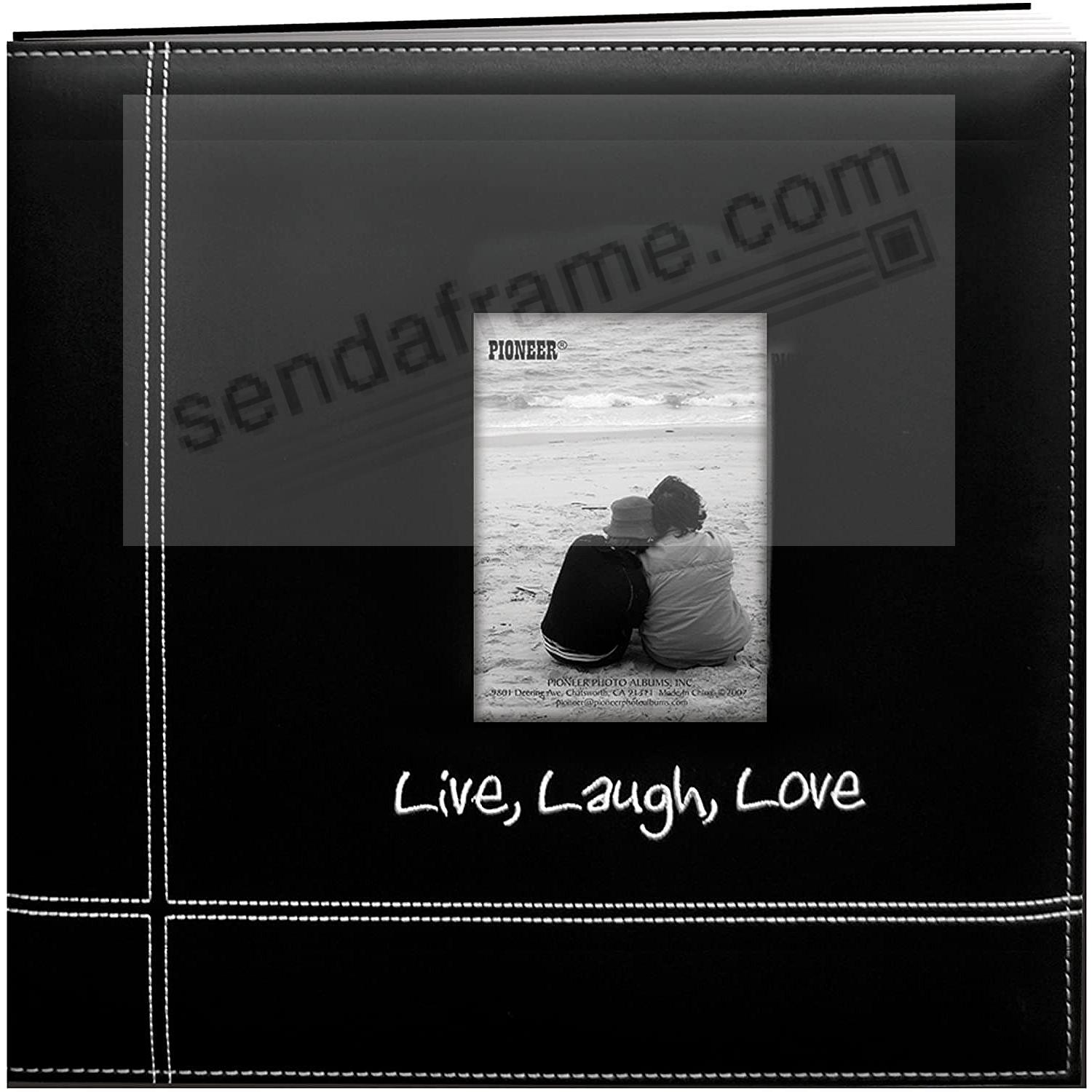 LIVE-LAUGH-LOVE BLACK Leatherette Embroidered 12x12 Scrapbook by Pioneer®