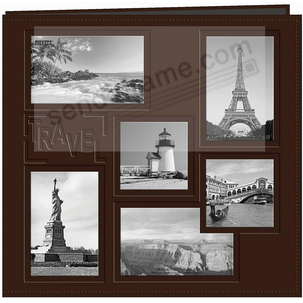 BROWN TRAVEL Collage Frame Cover 12x12 Leatherette Scrapbook album by Pioneer®
