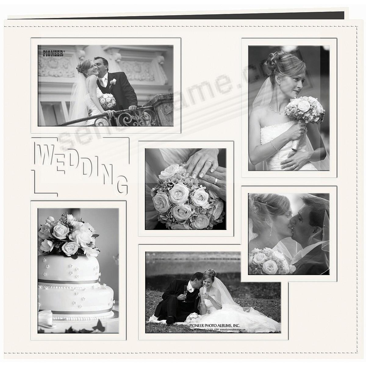 IVORY WEDDING Collage Frame Cover 12x12 Leatherette Scrapbook album by Pioneer®