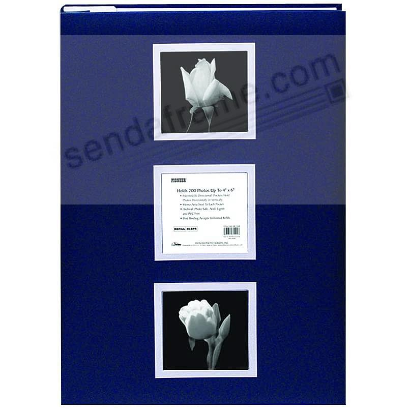Post-Bound BI-DIRECTIONAL BLUE w/SILVER COVER FRAMES pocket album  LARGE CAPACITY!