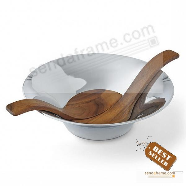 Chillable Salad Bowl w/Servers crafted by Nambe®