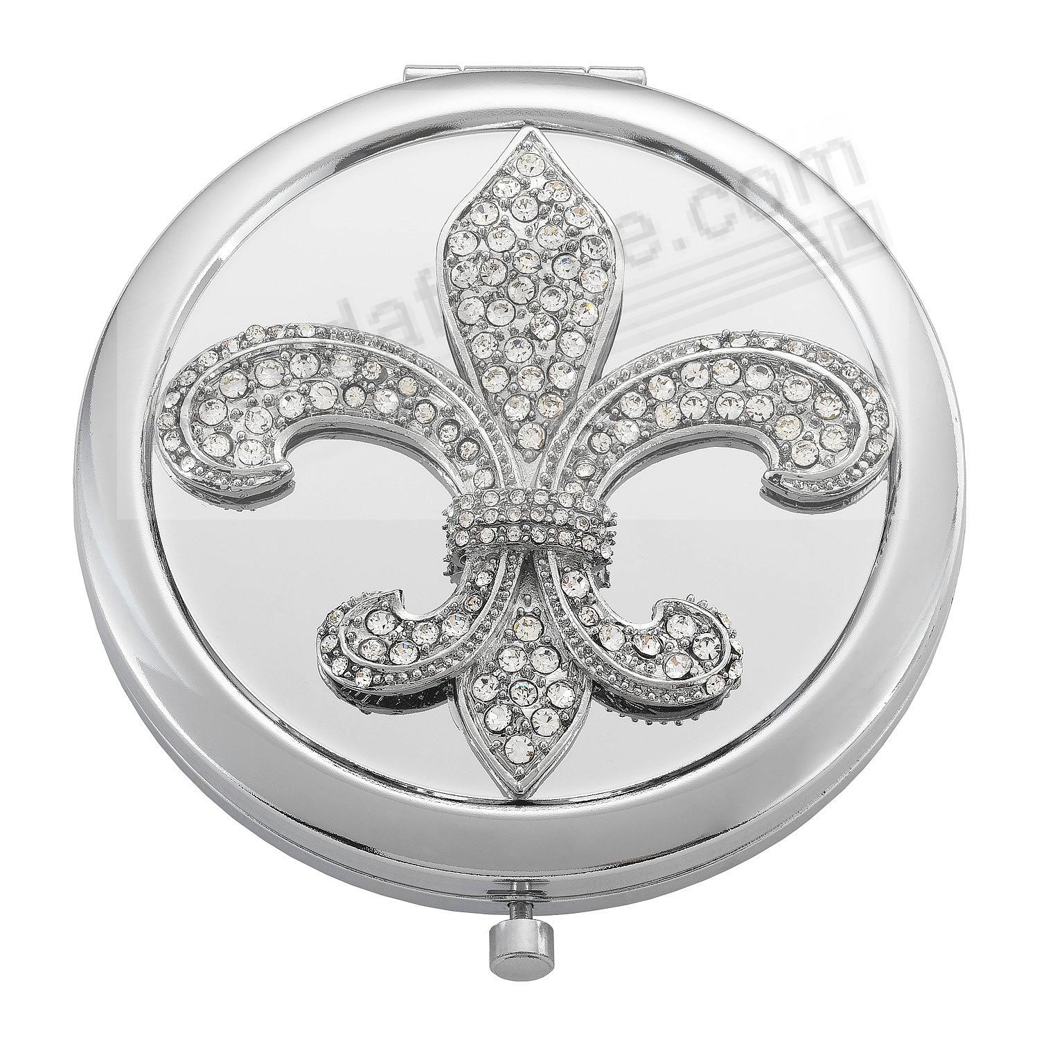 FLEUR DE LIS SILVER/Crystal PURSE MIRROR by Olivia Riegel®