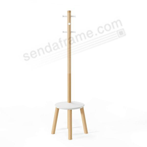 The Original PILLAR STOOL + COAT RACK in NATURAL and White by Umbra®