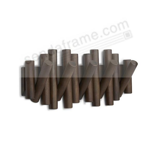 The PICKET 5-Hook Wall Rail in Aged-Walnut Finish by Umbra®