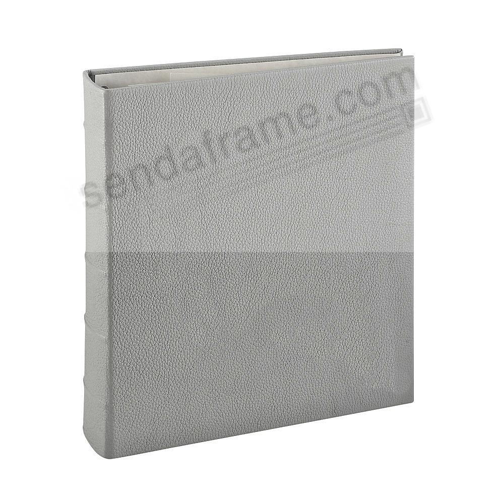 GREY 3-ring Fine Leather photo album w/slip-in pockets by Graphic Image™