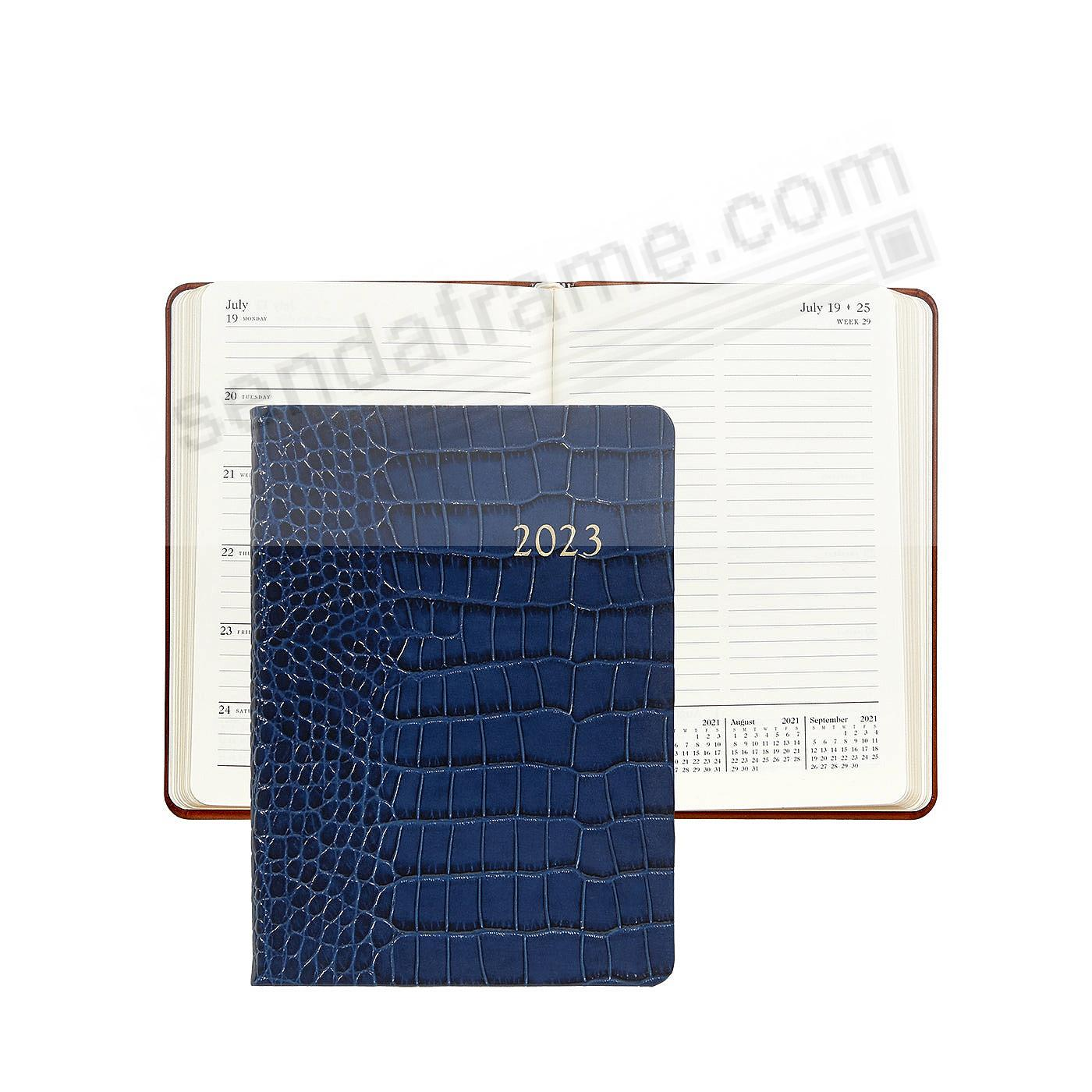 2021 Notebook Planner 7in Sapphire-Blue Crocodile-Embossed Calfskin leather by Graphic Image™