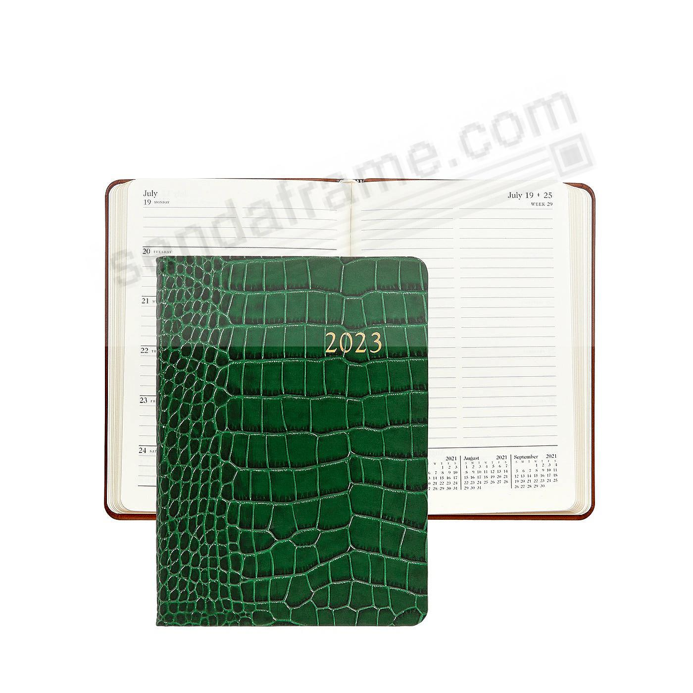 2021 Notebook Planner 7in Emerald-Green Crocodile-Embossed Calfskin leather by Graphic Image™