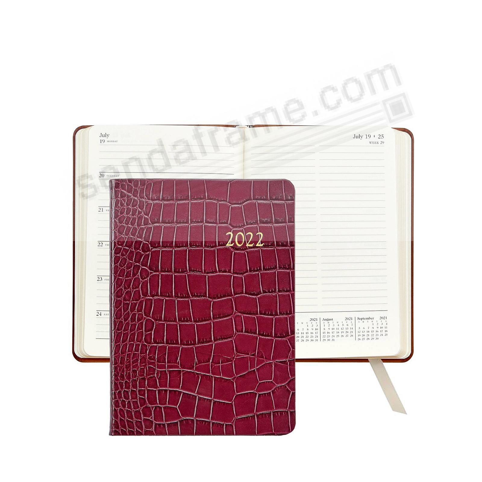 2021 Notebook Planner 7in RUBY Crocodile-Embossed Calfskin leather by Graphic Image™
