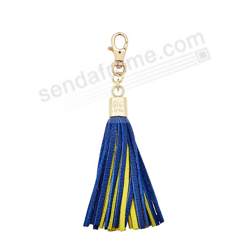GAME DAY COBALT+YELLOW Nappa Fine Leather TASSEL by Gigi New York®