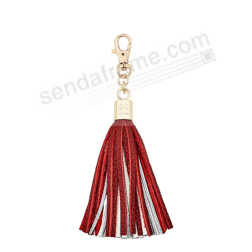 GAME DAY CRIMSON+WHITE Nappa Fine Leather TASSEL by Gigi New York®