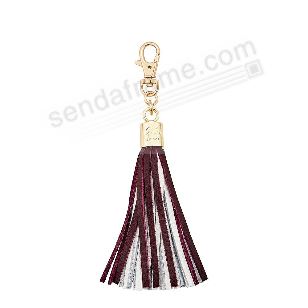 GAME DAY MAROON+WHITE Nappa Fine Leather TASSEL by Gigi New York®