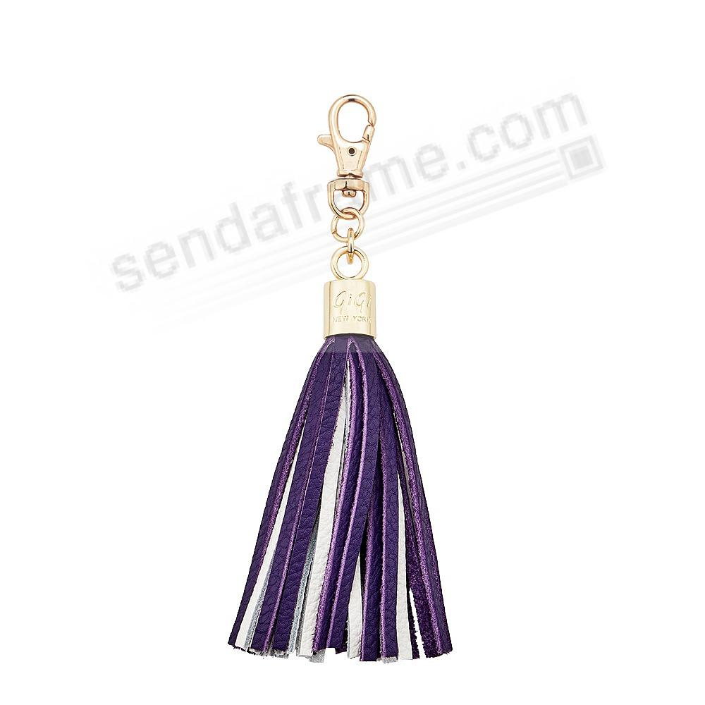 GAME DAY PURPLE+WHITE Nappa Fine Leather TASSEL by Gigi New York®