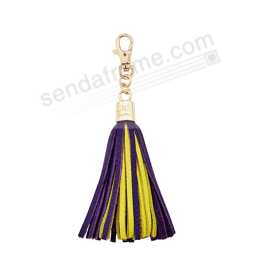 GAME DAY PURPLE+YELLOW Nappa Fine Leather TASSEL by Gigi New York®