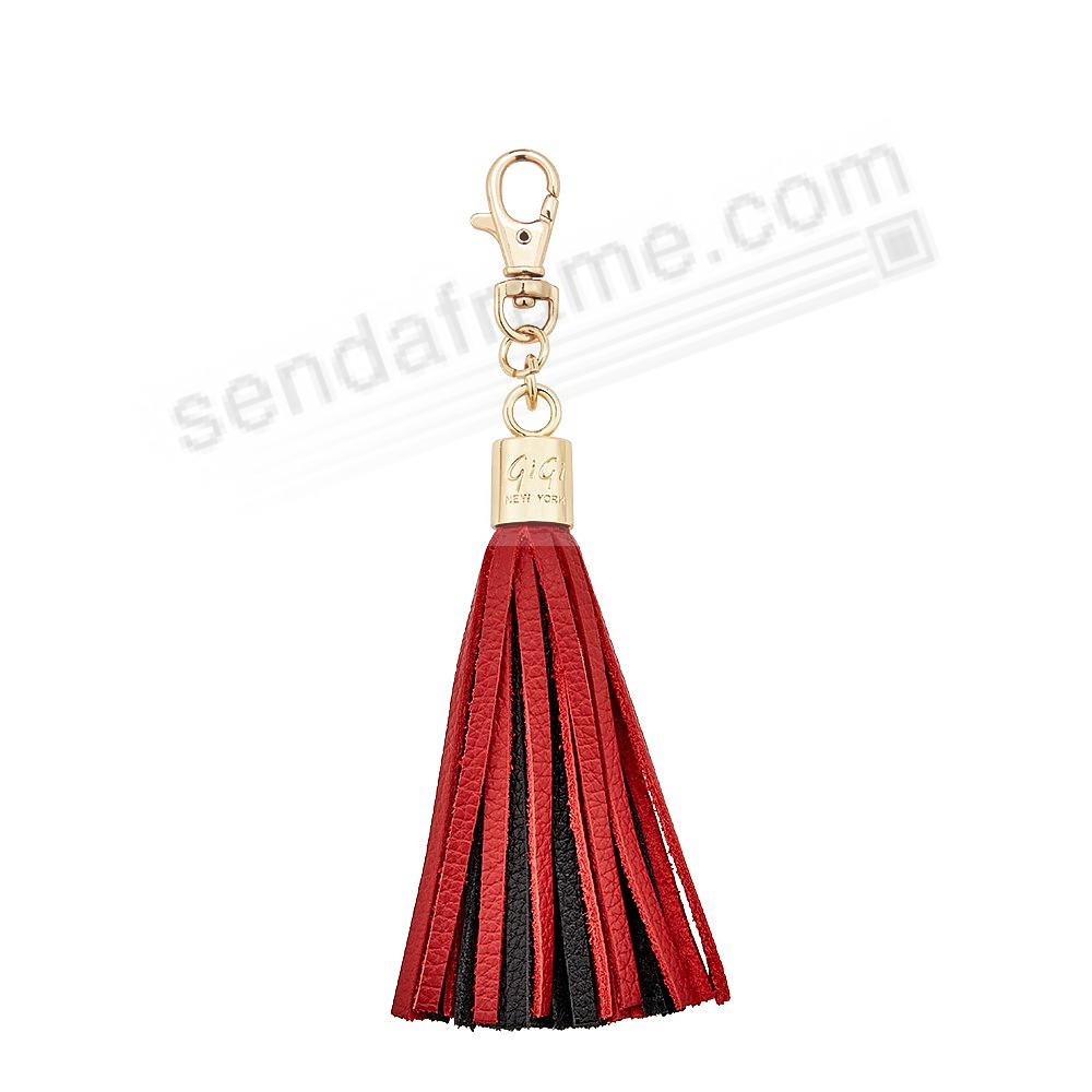 GAME DAY RED+BLACK Nappa Fine Leather TASSEL by Gigi New York®