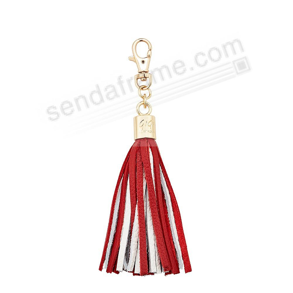 GAME DAY RED+WHITE Nappa Fine Leather TASSEL by Gigi New York®