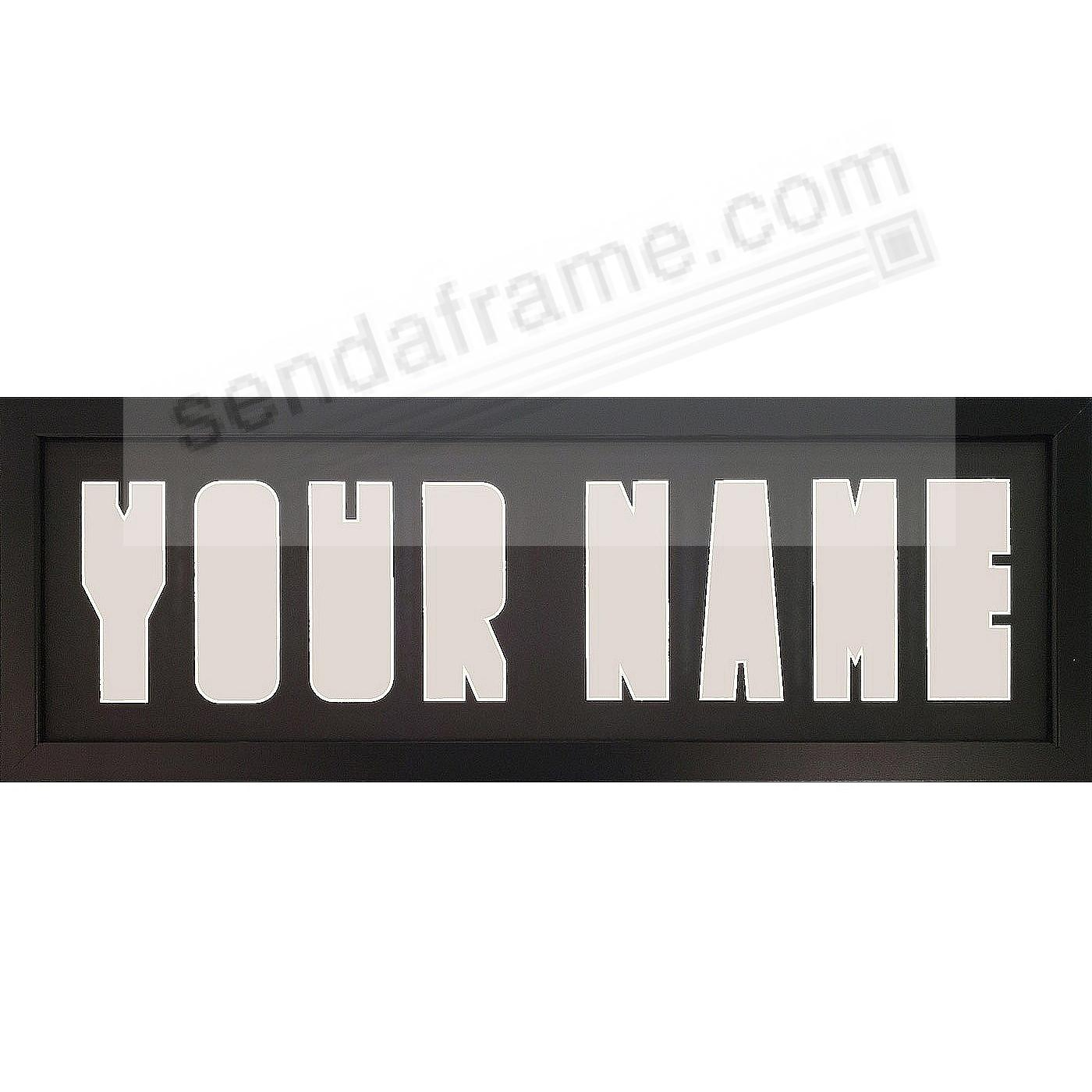 PERSONALIZED Cut-out Letter COLLAGE Black/Black Matted Frame
