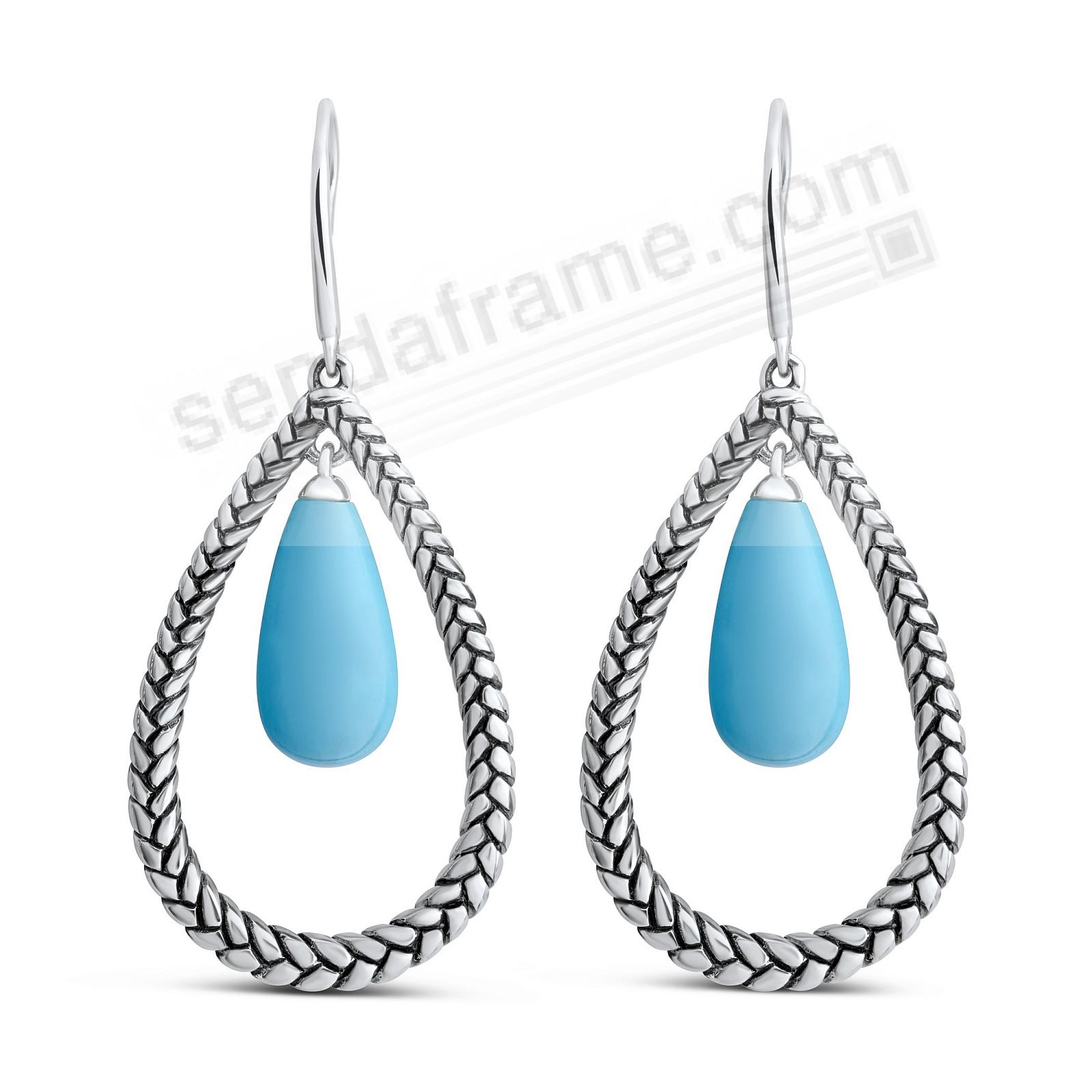 MARINA-BRAID STERLING+TURQUOISE FLOAT PEAR EARRINGS by Nambe®