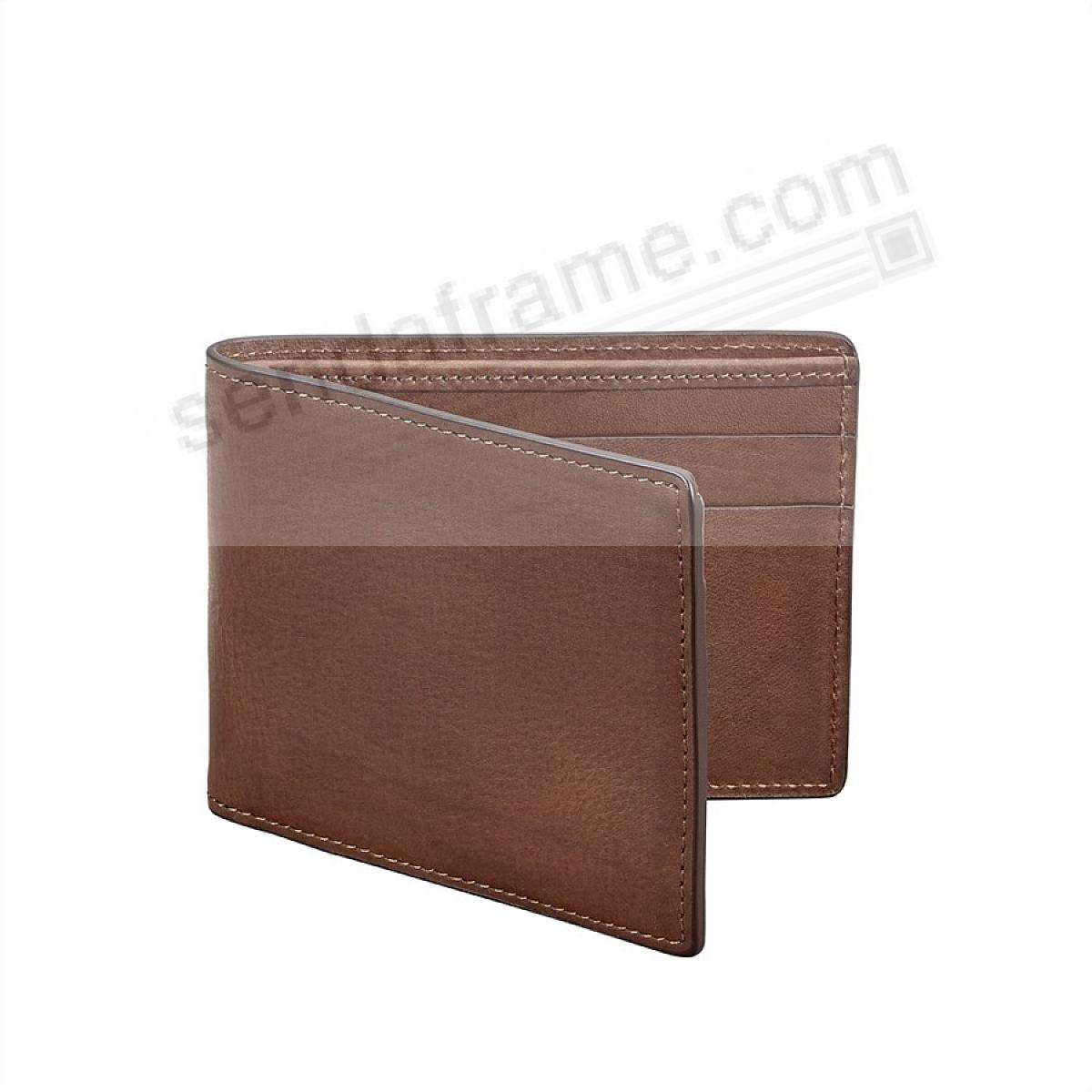 Brown Slim Bi-Fold Wallet in Vachetta Leather by Graphic Image®