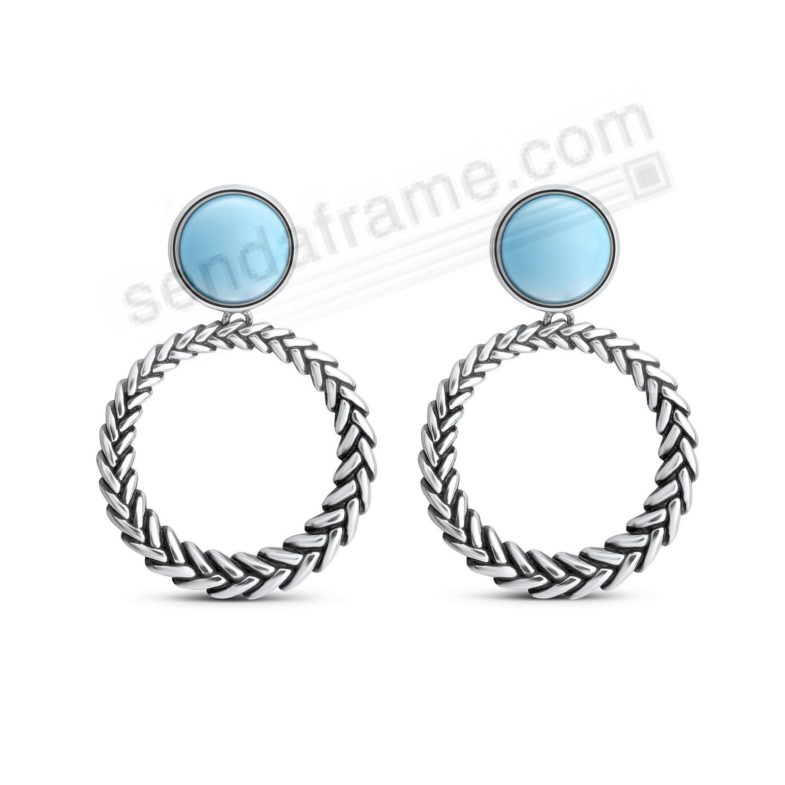 MARINA-NATURAL STERLING+TURQUOISE SILVER LOOP EARRINGS by Nambe®