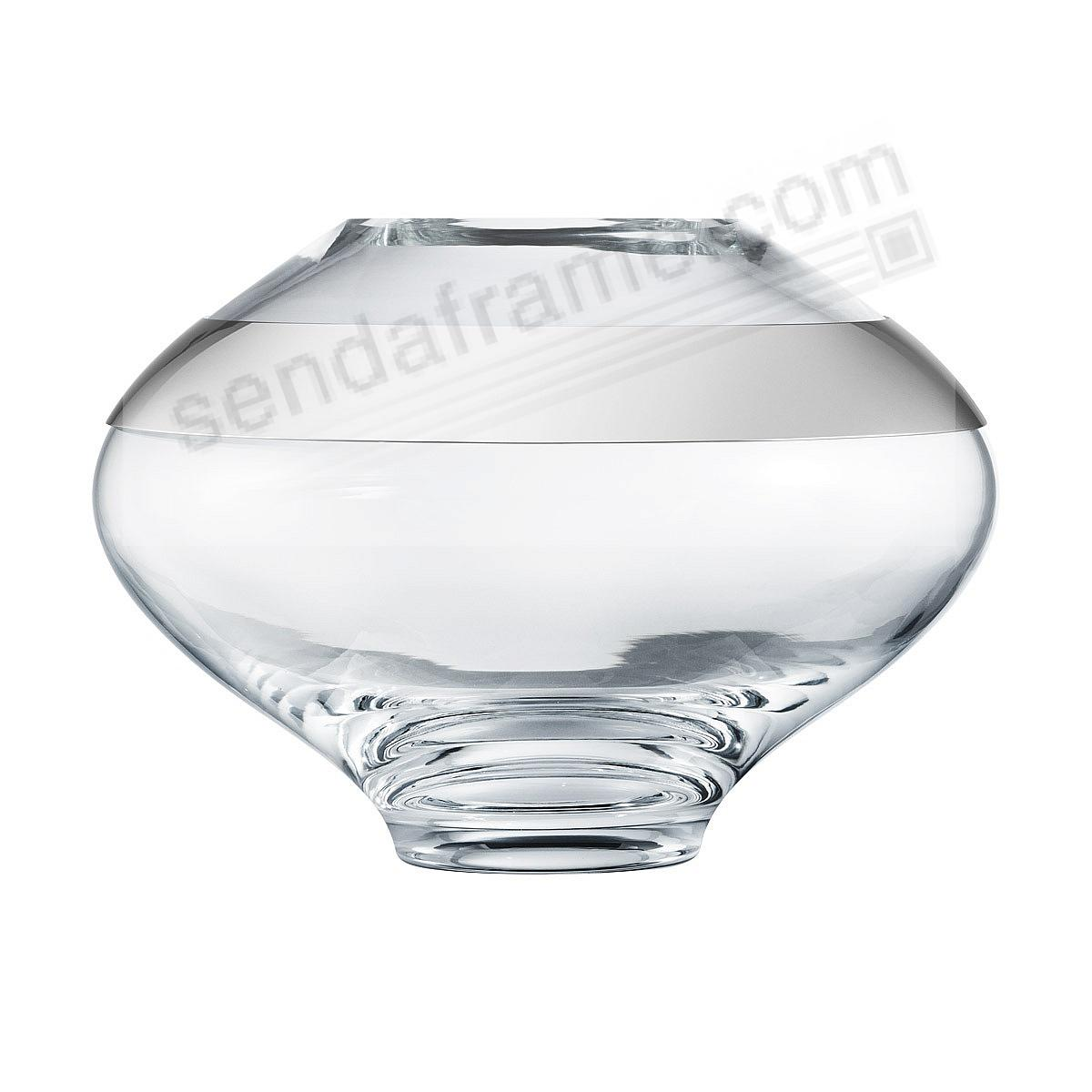 The DUO ROUND VASE (Medium | 9.8in) Glass+Stainless Steel by Georg Jensen®