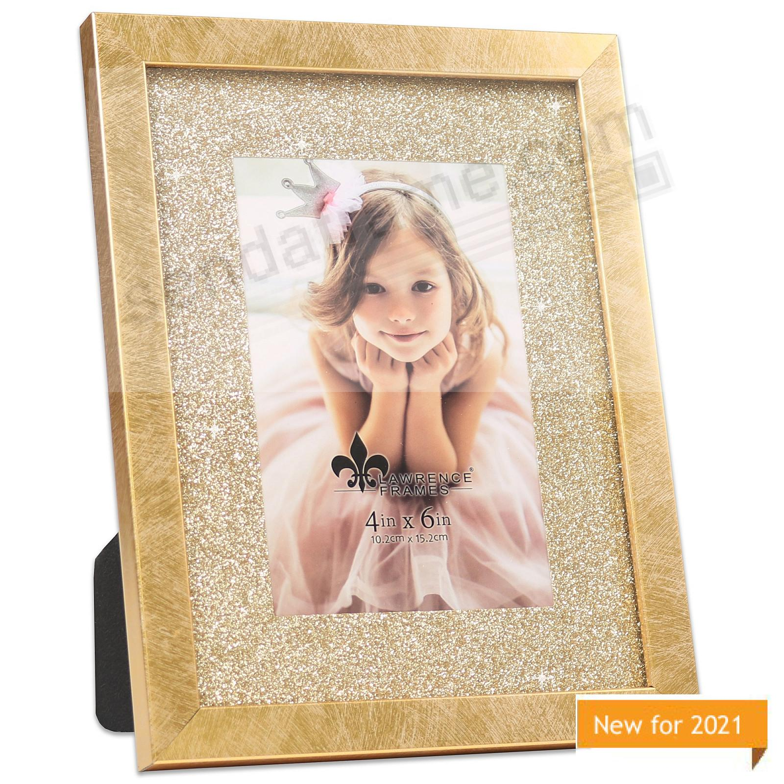 Satin-Gold matted 6x8/4x6 frame with Glitter Mat by Lawrence Frames®