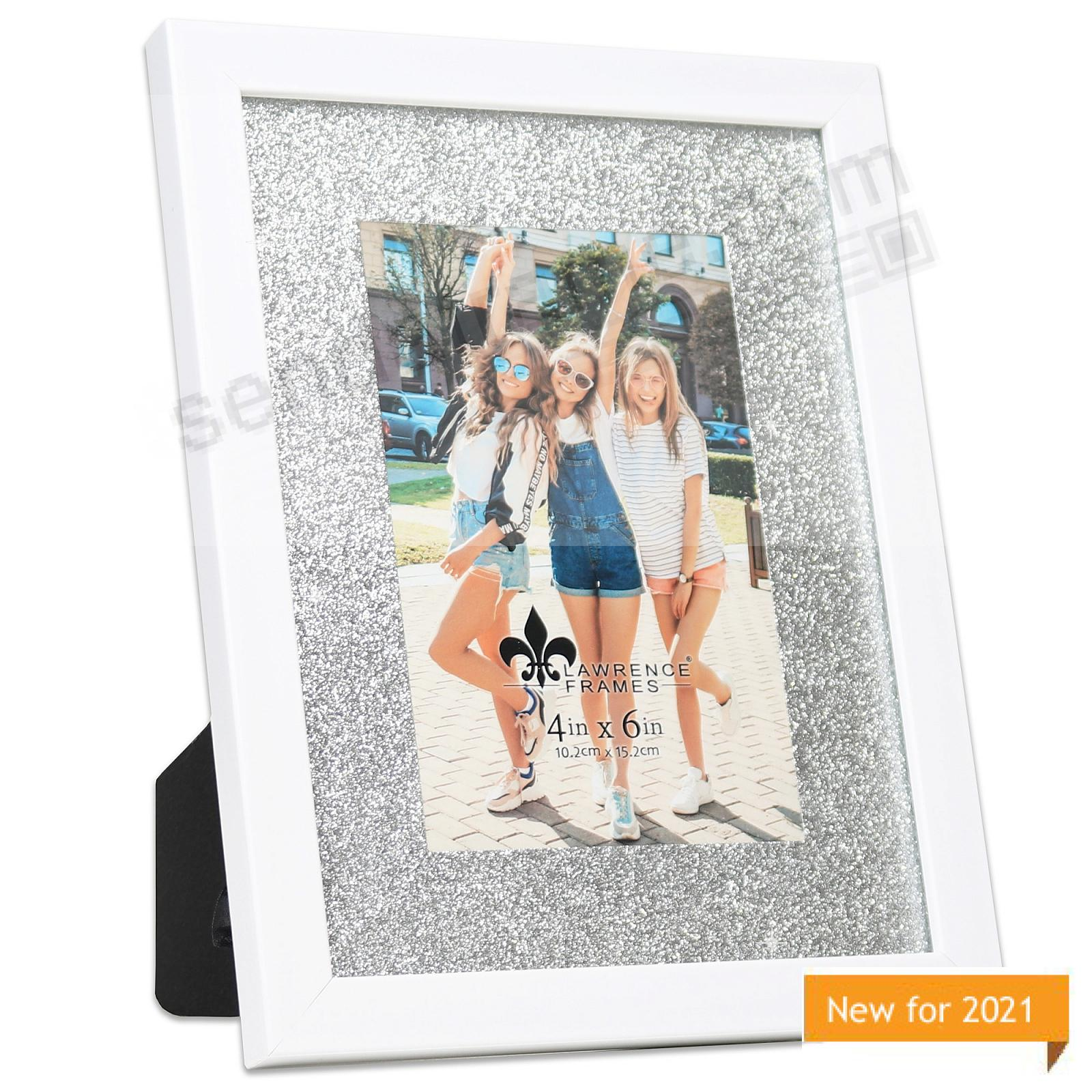 Satin-White matted 6x8/4x6 frame with Silver Glitter Mat by Lawrence Frames®