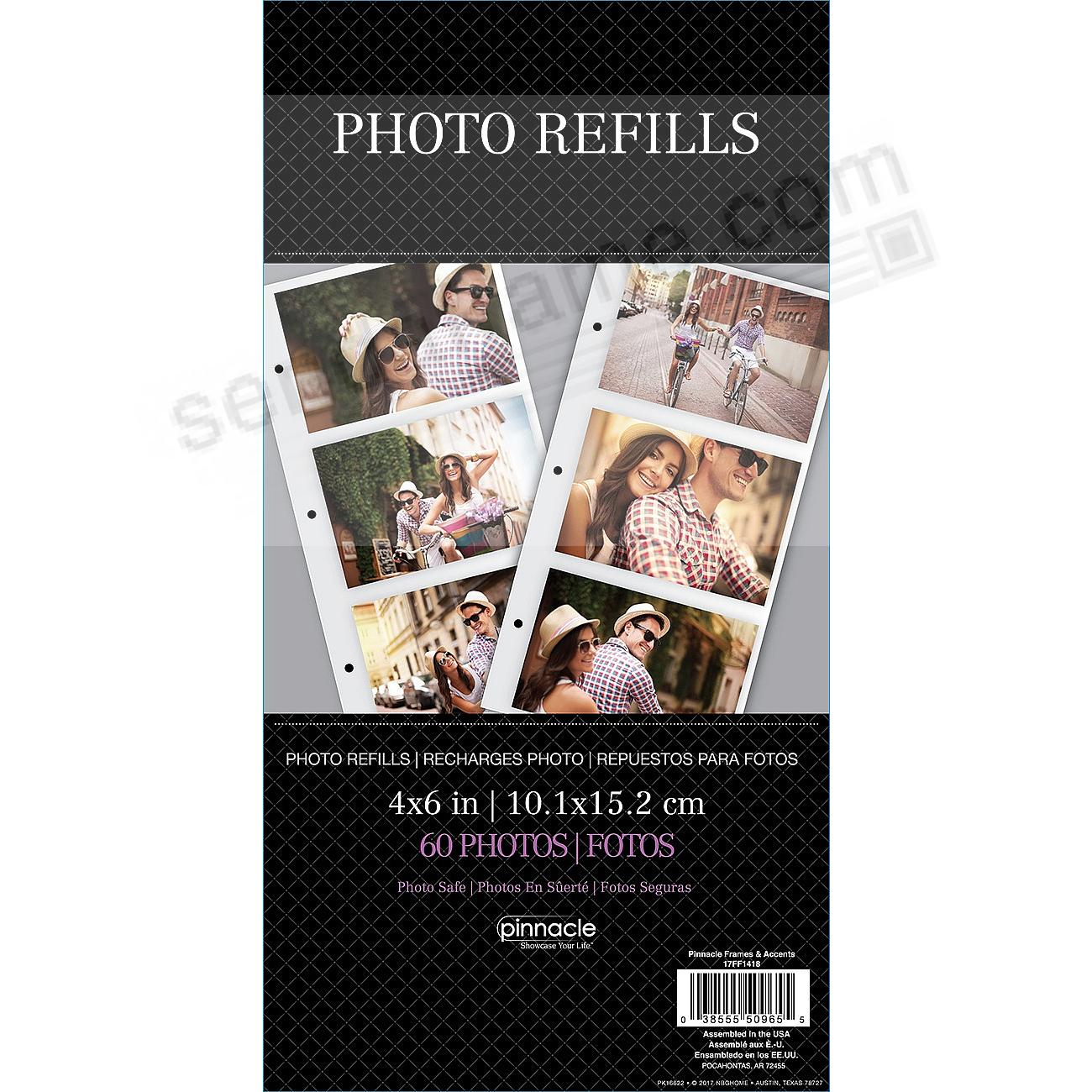 Genuine Pinnacle® 3-up refills for 60-4x6 prints in ring bound albums