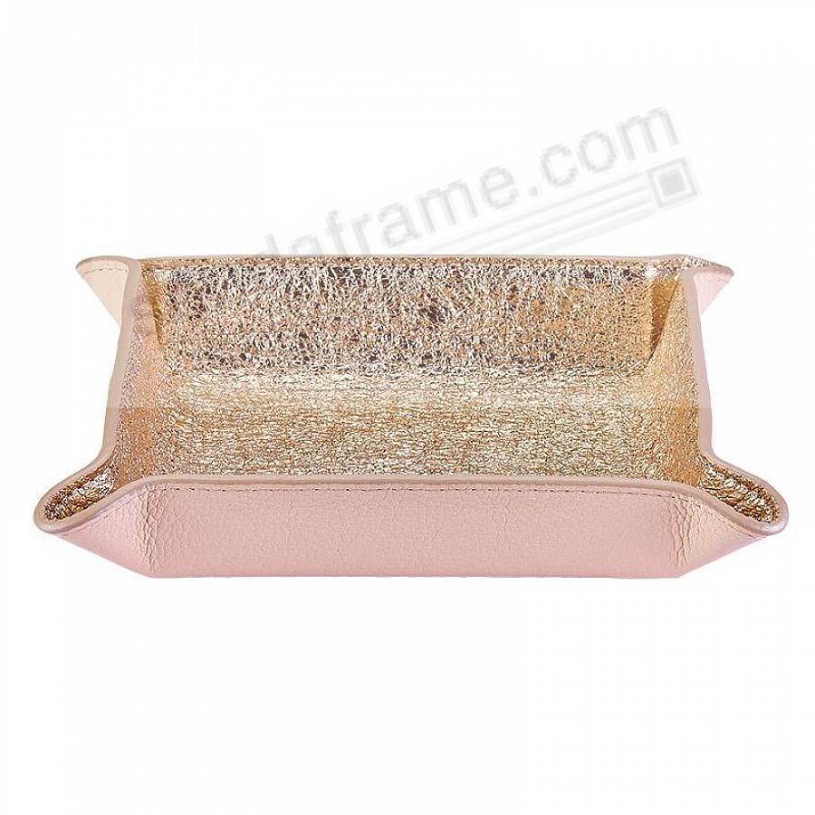 Valet Tray Catchall Rose-Gold Crackle Metallic Leather by Graphic Image™