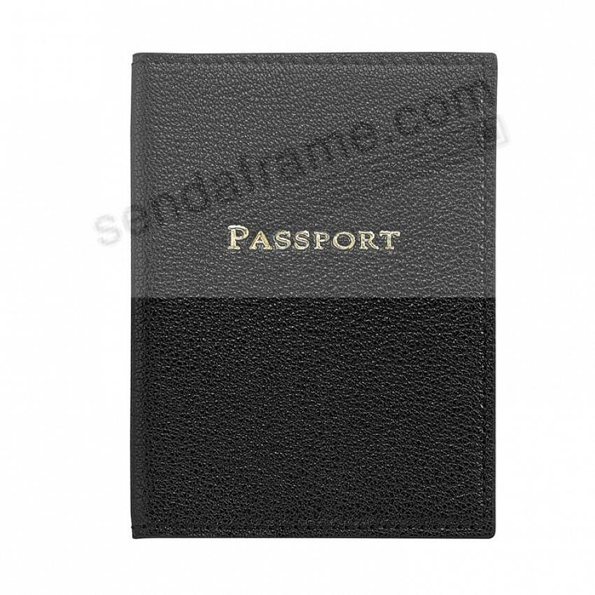 PASSPORT/ID COVER BLACK GOATSKIN Leather by Graphic Image®