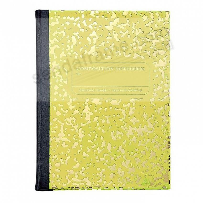 Composition Notebook NEON-YELLOW/GOLD Leather by Graphic Image™