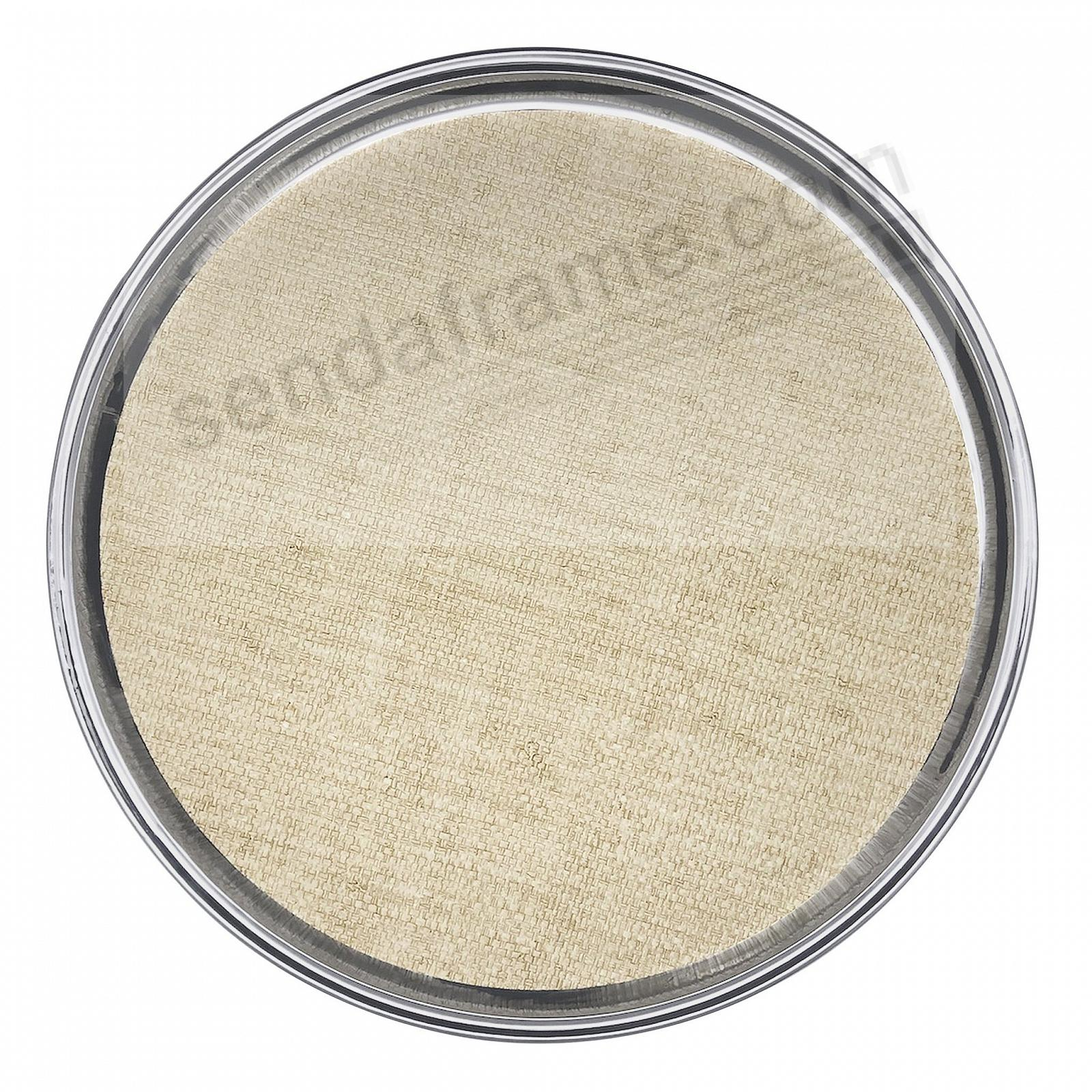 Signature Round Metal 17in Tray w/Sand Faux Grasscloth Insert by Mariposa®