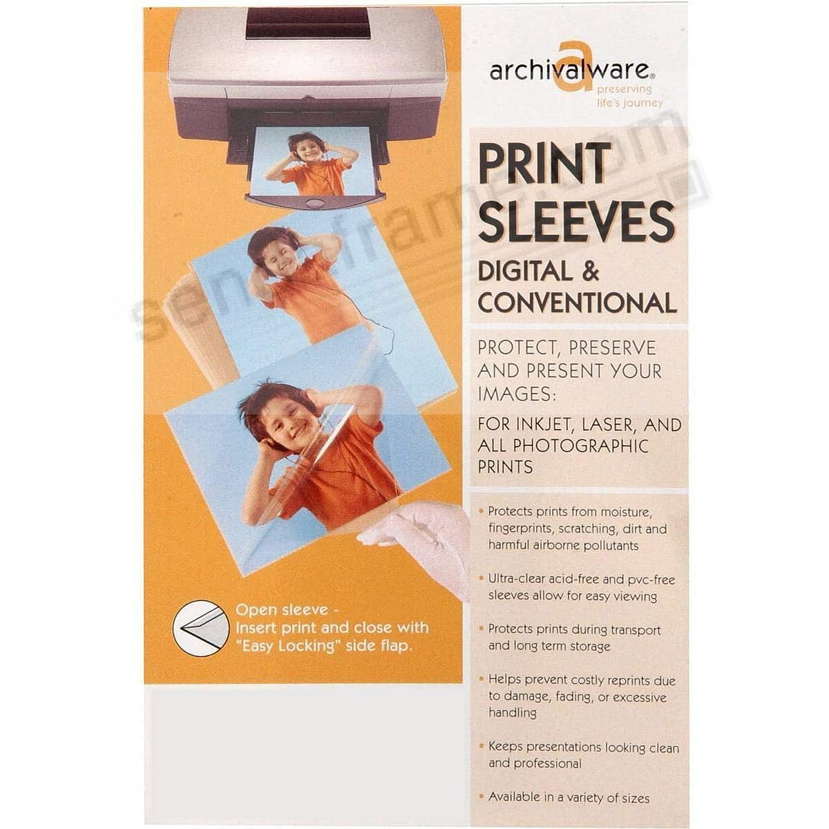 PRINT SLEEVES w/EASY-LOCK SIDE FLAP 11x14 by Lineco® (pkg of 25)
