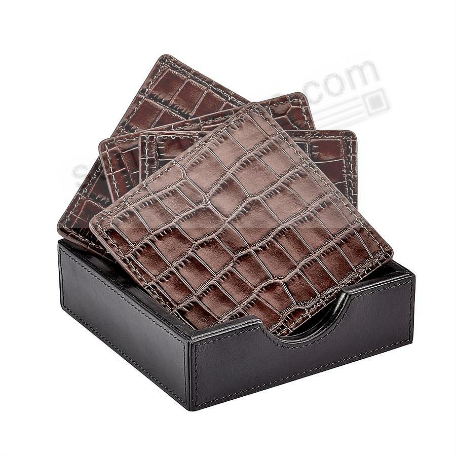 BROWN Embossed-Crocodile Leather COASTERS (set of 4) crafted by Graphic Image®