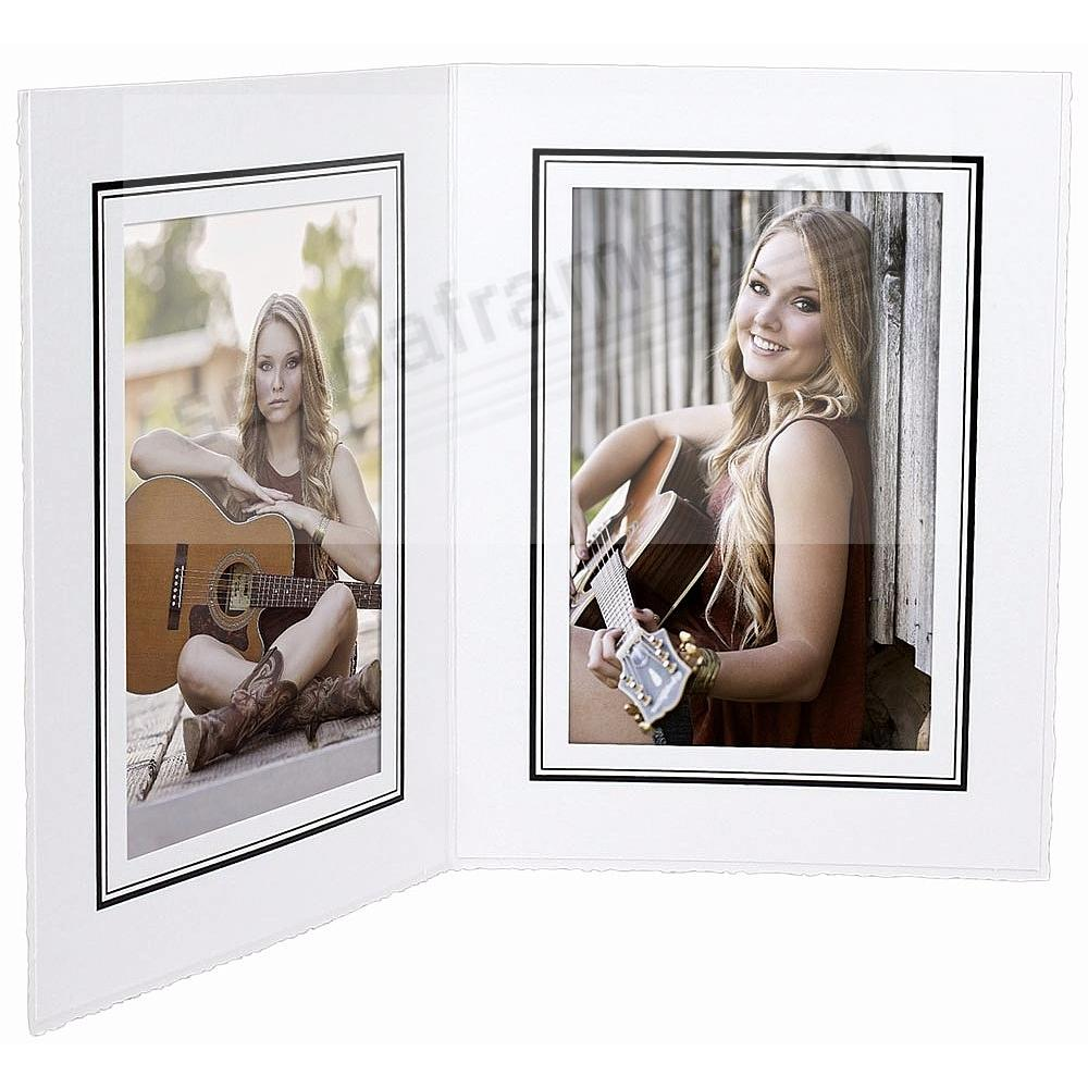 White w/black foil border Cardstock Paper Portrait<br>Double photo-mount folder 4x6 frame (sold in 25s)
