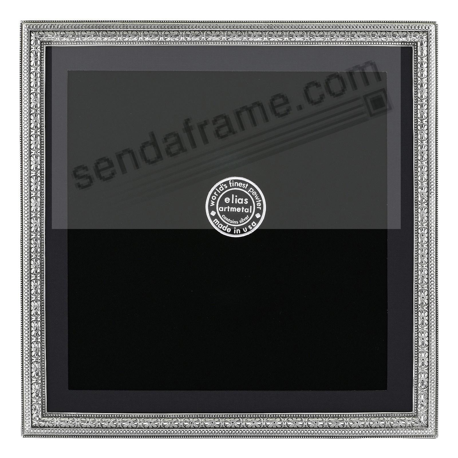 BEADED FLORAL Fine Pewter 5x5/4½x4½ frame<br>by Elias Artmetal®