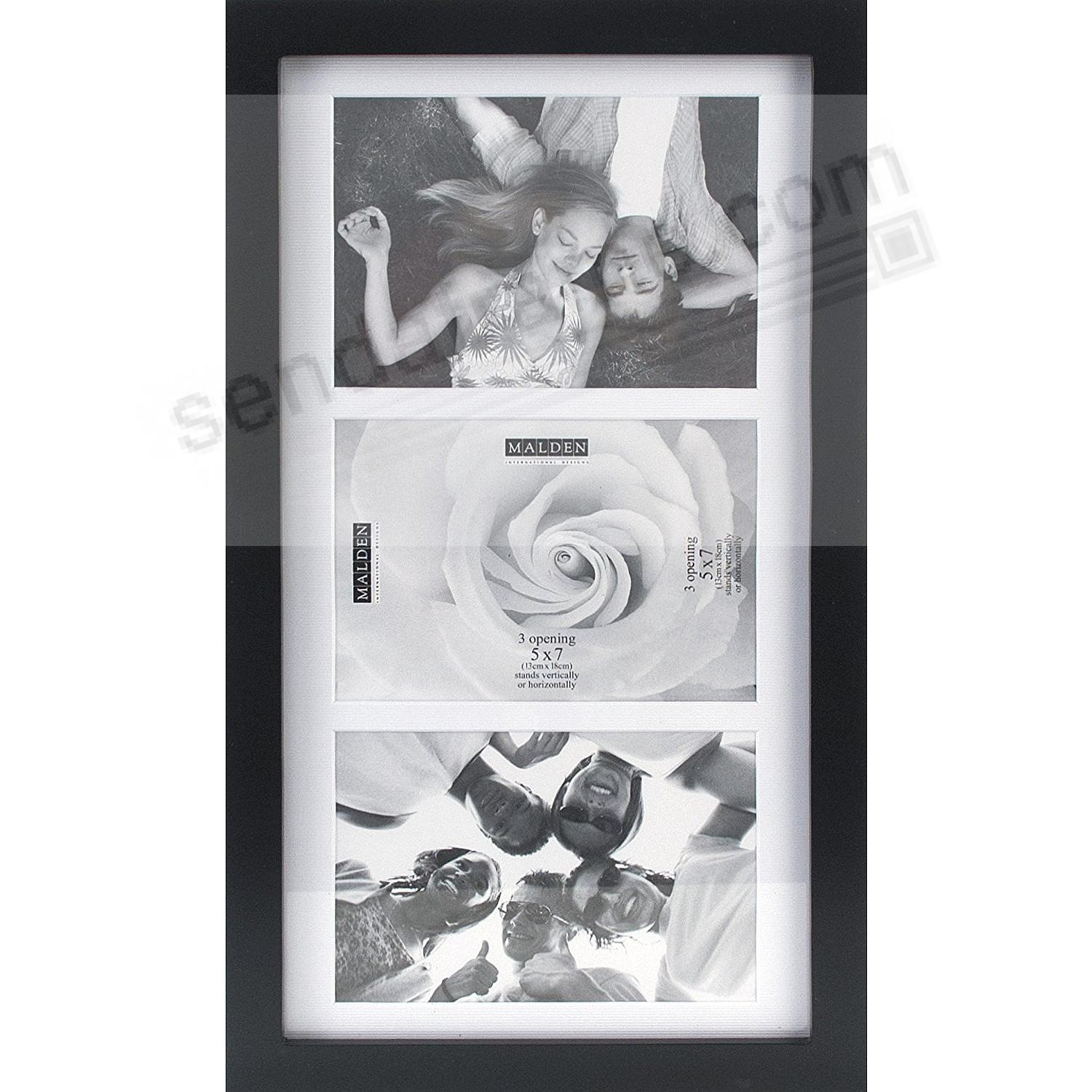 Black LINEAR collage with white linen mat<br>displays (3) 5x7 photos