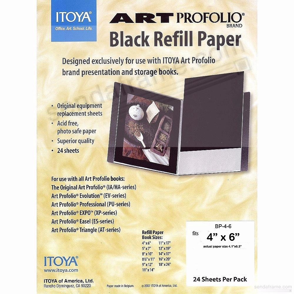 Genuine ITOYA® Black Refill Paper for 4x6 albums
