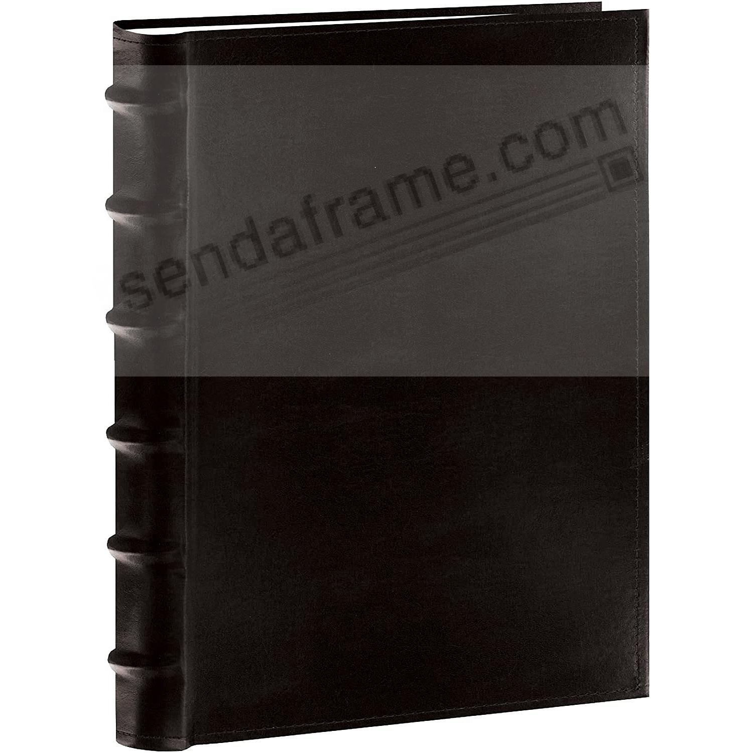 Black Leather BI-DIRECTIONAL 300 capacity slide-in pocket album w/Memo