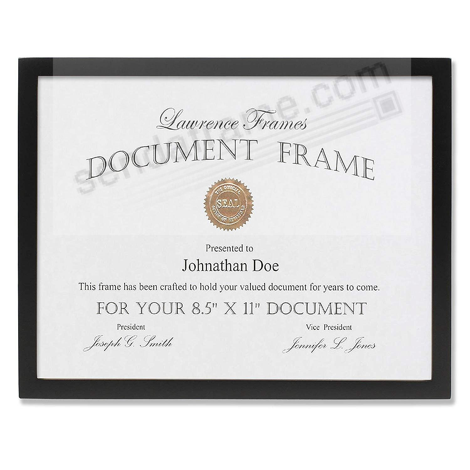 Certificate-size Ebony Black Wood 8½x11 frame by Lawrence®